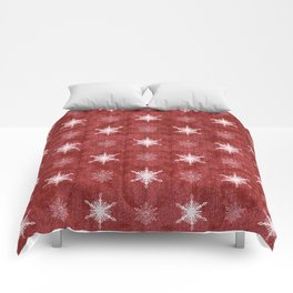 White Snowflakes on Red Christmas Pattern Comforters
