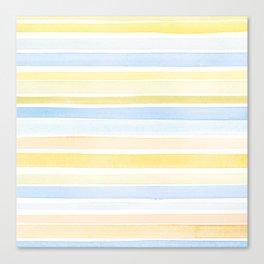 Watercolour stripes 01 Pale sea Canvas Print