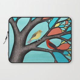 scarlet tanagers in the stained glass tree Laptop Sleeve