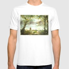 Fishing White Mens Fitted Tee MEDIUM