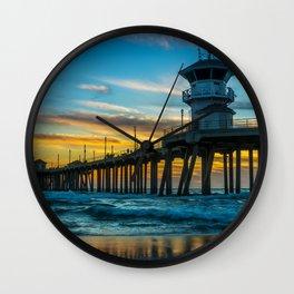 Winter Sunset at Huntington Beach Pier. Wall Clock