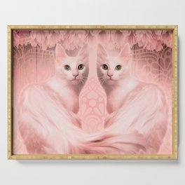 """""""Pink Pastel Doppelganger Cats at the Garden"""" Serving Tray"""