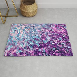 FROSTED FEATHERS 1 Colorful Lavender Purple Lilac Serenity Rose Quartz Ombre Ocean Splash Abstract Rug