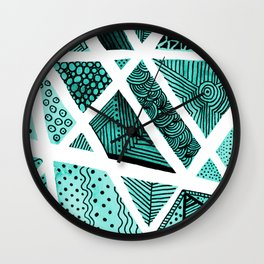 Geometric doodle pattern - turquoise and black Wall Clock