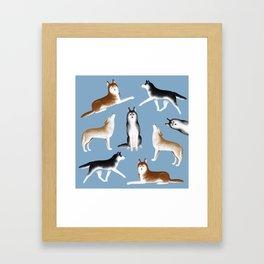 Husky Pattern (Blue Gray Background) Framed Art Print