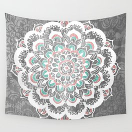 Pastel Floral Medallion on Faded Silver Wood Wall Tapestry