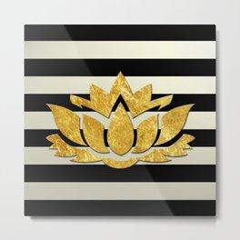 Horizontal Stripes & Gold Metallic Lotus Flower Metal Print