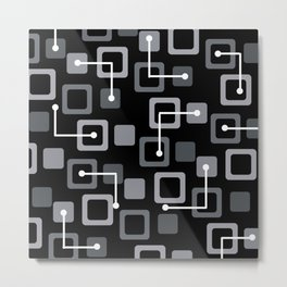 Midcentury 1950s Tiles & Squares Black Metal Print