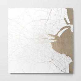 Dublin White on Gold Street Map II Metal Print