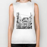 china Biker Tanks featuring Yokohama - China town by parisian samurai studio