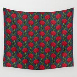 Pomegranate Branches on Slate Blue Wall Tapestry