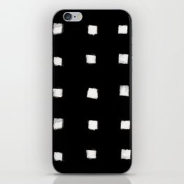 Polka Strokes Gapped - Off White on Black iPhone Skin