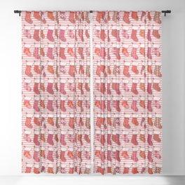 Red Christmas Stockings Sheer Curtain