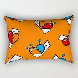 Hearts with Stitches - Blue Red Orange - Orange Rectangular Pillow