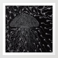 jelly fish Art Prints featuring Jelly Fish by OKAINA IMAGE