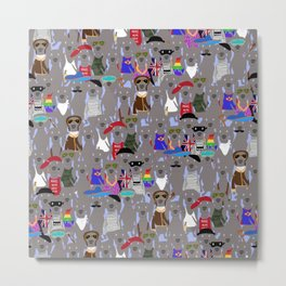 Big Dog Weim Nation Grey Ghost Weimaraner Hand-painted Pet Pattern on Blue Metal Print