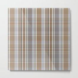 Winter, Plaid, Brown and Grey Metal Print