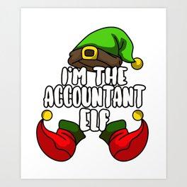 Accountant Elf Matching Family Group Christmas Art Print