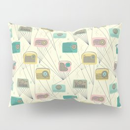 Mid-century Modern Transistor Radios and Atomic Stars / Cream Pillow Sham