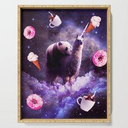 Outer Space Panda Riding Llama Unicorn - Donut Serving Tray