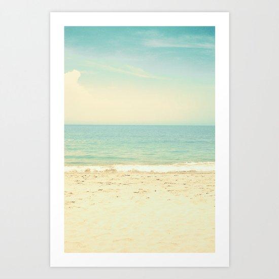 Pale blue retro beach  Art Print