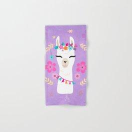 Cute Happy Llama - Purple Boho Alpaca with Flowers Hand & Bath Towel