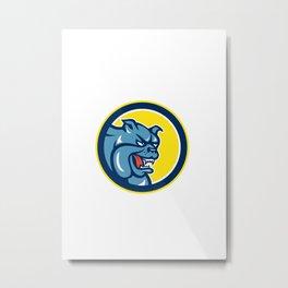 Angry Bulldog Mongrel Head Circle Cartoon Metal Print