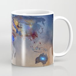 Stars world map. Blue. World map Coffee Mug