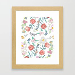 Floral Watercolor Pattern  Framed Art Print