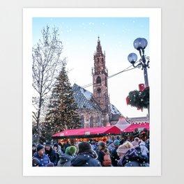 Christmas time in Bozen, Italy Art Print