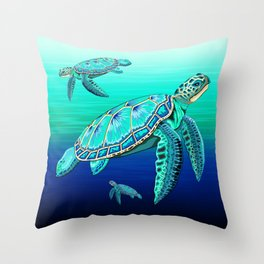 Sea Turtle Turquoise Oceanlife Throw Pillow