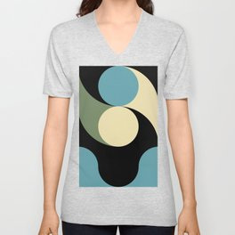 Two comets, one blue with a white tail, the other's white with a green tail. Unisex V-Neck