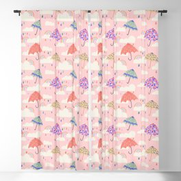 Rainy Day on Pink Blackout Curtain