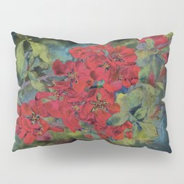 The flowering quince . Black background Pillow Sham