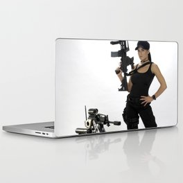 Swat Chick- Girl with SWAT Gear, Military Gun and Tactical Robot Laptop & iPad Skin