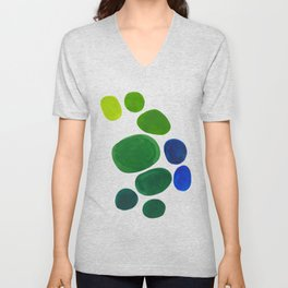 Mid Century Kusama Abstract Minimalist Colorful Pop Art Lime Green Blue Rainbow Ombre Gradient Unisex V-Neck