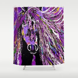 Horse Oil Painting Deep Purple Shower Curtain