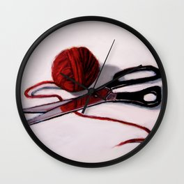 Ball of Red Yarn with Scissors, Still Life Wall Clock