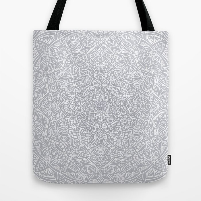 4504ebf64d Most Detailed Mandala! Cool Gray White Color Intricate Detail Ethnic  Mandalas Zentangle Maze Pattern Tote Bag by aej design