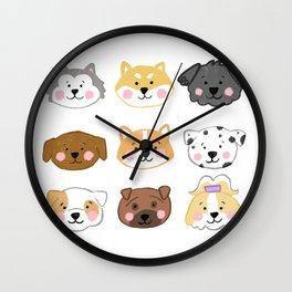 Nine Cute Dogs in White Wall Clock