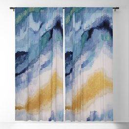Modern Blue and Gold Abstract Art Blackout Curtain