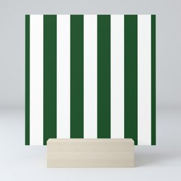 Jumbo Forest Green and White Rustic Vertical Cabana Stripes Mini Art Print