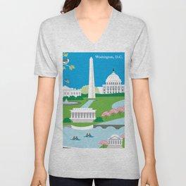 Washington, D.C. - Skyline Illustration by Loose Petals Unisex V-Neck