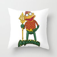aquaman Throw Pillows featuring Scooter the Aquaman by JoshEssel