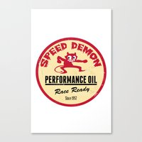 decal Canvas Prints featuring Hot Rod Retro Decal by Pixel Villain
