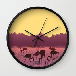 the flaminco birds are on the beach Wall Clock