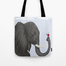 Bertha The Elephant And Her Visitor Tote Bag
