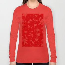 Red Passiflora Floral Pattern Long Sleeve T-shirt