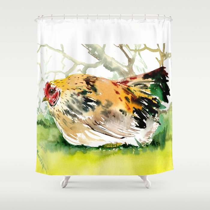 Chicken Farm Animal Art In The Shower Curtain By Sureart