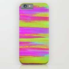 DISCO FEVER - Bright Neon Green Pink Funky Dance 70s Retro Stripes Abstract Watercolor Painting iPhone 6s Slim Case